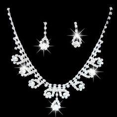 Fashion 2015 hot Women's Bridal Romantic Dazzling Rhinestone Wedding Party Pendant Necklace Teardrop Earrings Bling Jewelry Set