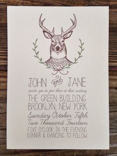 Deer Head Wedding Invitation by housemanstationery on Etsy, $50.00