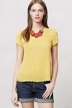 Solid Scalloped Blouse & Camellia Necklace #anthropologie