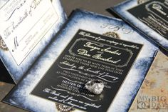 Blue parchment wedding invitations. Vintage pearls wedding invoitations. Broche wedding invitations. by MyBigDayDesigns on Etsy https://www.etsy.com/listing/59357275/blue-parchment-wedding-invitations