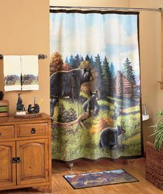 Bear Decor for Bathroom - 15 Bear Decor for Bathroom , Black Bear Occupied Outhouse Bathroom Decor Wood Sign Country Shower Curtain Hooks, Fabric Shower Curtains, Outhouse Bathroom Decor, Wood Bath, Bear Decor, Bathroom Colors, Small Bathroom, Black Bear, Bathroom Accessories