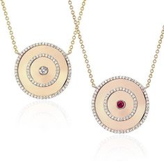 The new EF Collection Bullseye Necklace, available in all diamond or diamond with ruby center...LVE! Xo, EF
