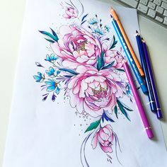 #peony #tattoopins #tattoo2me #tattooflash #tattsketches #tattoo #flowers #flowerstattoo эскиз занят