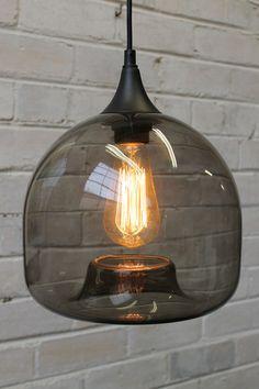 Glass Pendant Light in dark smoke finish