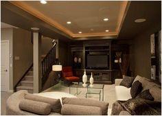 Like the open wall/rail concept? Cozy basement idea