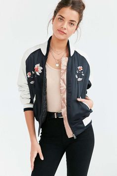Urban Outfitters Silence + Noise Stays On Tour Satin Bomber Jacket