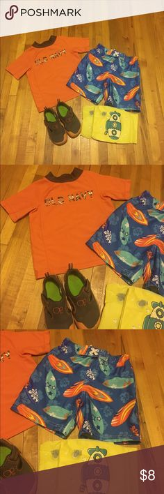 Swimwear set for Toddler Boy's Size 2T-3T Toddler Boy's Swim Set Size 2T-3T.All still in good condition.No stains or any holes.Came from a smoke free and pet free home.  1.Old navy Swim Shirt 2T 2.Circo Swim Trunk 3T with adjustable drawstring 3.OP water shoes size 7-8 M 5.Arms Floats 2T  Xx Swimwear Boy's Bundle xX Old Navy Swim One Piece