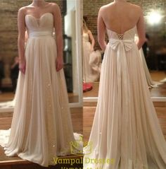 vampal.co.uk Offers High Quality Champagne Strapless Floor Length Chiffon Prom…
