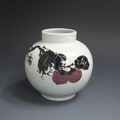 백자황금진사 홍시문호 白磁黃金辰砂 紅柿紋壺 (white  Gold Jinsa porcelain  - Persimmon)