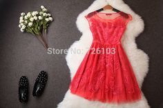 2014 Fashion Flower Embroidery Organza A-line dress For Ladies Girls and Women Summer Short  O-Neck  Vintage  Dress T1956