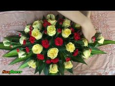 Cắm hoa để bàn - Hoa hồng vàng mix Cẩm chướng đỏ - YouTube Funeral Floral Arrangements, Flower Arrangements, Yard Landscaping, Fresh Flowers, Wood Crafts, Marie, Projects To Try, Wreaths, Bridal