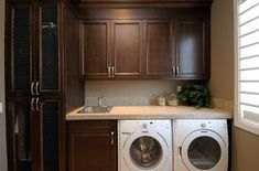 Suzie: Atmosphere Interior Design - Small, efficient laundry room design with chocolate brown ...