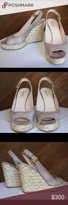 Prada Slingback Espadrille Platform Wedges 8.5 Prada Gray Distressed Leather Slingback Peep-toe Espadrille Platform Wedge Sandals. Size: 38.5 US: 8.5  MADE IN ITALY. Woven-jute Platform Wedge. Stacked Welt. Adjustable Gold tone buckle. Rubber sole. Only sign of wear is light on the footbed. Retails $890 Prada Shoes