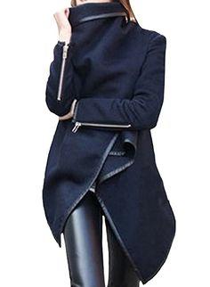 Azbro Mujer Abrigo Trenca de Solapa Asimetrica Mangas con Cremallera, Azul oscuro L: Amazon.es: Ropa y accesorios