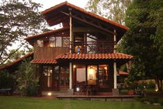 Balcony House With Porch, My House, Bungalow Landscaping, Thai House, Bamboo Architecture, My Ideal Home, Steel House, Wooden House, House Goals
