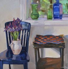 The Checkerboard Table interior scene still life floral iris bouquet painting, painting by artist Sarah Sedwick