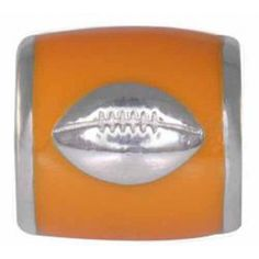 """Teagan Collegiate Collection Bead: Football on Orange Bead RL-UT6. This bead is used with University of Tennessee and University of Miami.  925 Silver & Enamel.  This is a """"Teagan"""" bead and it is compatible with Pandora, Biagi, Zable, Brighton, Troll and many other European style bracelets. As with any Teagan Bead, it is a high quality nice weight bead."""