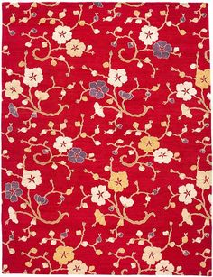 Morning Glory Rouge Himalayan wool and silk {rugs, carpets, modern, home collection, decor, residential, commercial, hospitality, warp & weft}