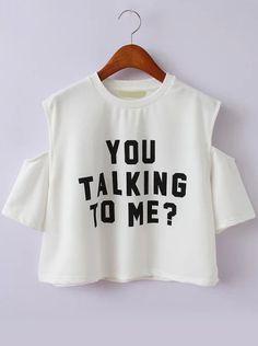 Open Shoulder Letter Print White T-shirt #PinScheduler http://mbsy.co/tailwind/18956816