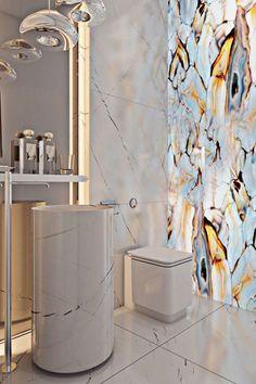 A Miami apartment in stormy, subdued tones - . - A Miami apartment in stormy, muted tones – # muted - Bathroom Wall Decor, Bathroom Interior Design, Modern Bathroom, Room Decor, Bathroom Small, Bath Decor, Bathroom Ideas, Glass Bathroom, Bathroom Lighting