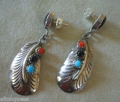 NAVAJO Sterling Silver CORAL JET & Turquoise EARRINGS Pierced Dangle FEATHER