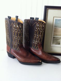 20 off sale  vintage decorative cowboy boots  unisex by OdeToJune, $44