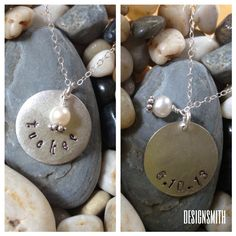 Silver plated pewter handstamped name/date pendant with drop bead of choice. Perfect for birthdays, anniversaries, bridal shower gifts or for a new mama. $40. Visit rdesignsmith.com