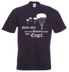 Fallschirmjäger T-Shirt Engel - Nicht alles was vom Himmel kommt sind Engel in der Farbe schwarz / mehr Infos auf: www.Guntia-Militaria-Shop.de