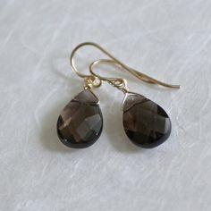 Smoky Quartz Earrings Teardrop Earrings Brown Earrings by barzel. Soft Summer.