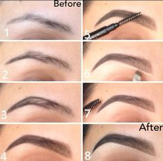 1. Line bottom of brow starting in the middle moving outward (this way the end of the brow is darker and front is lighter) 2. Line the top of the brow stopping at the middle point. 3. Fill in tthe outer half (middle towards ends) with pencil using light and short feather strokes. 4.Fill in the inner half of the brow(front) using brow powder and an angled brush. Apply a light amount in the very front to ensure  a natural finish. 5. Clean along the bottom and top of brows with concealer.