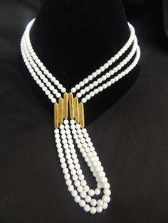 Vintage Signed Designer Neckalce Gold White Beads Runway Monet Chunky Rope Chain