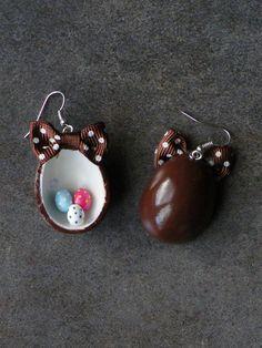 Boucle d'oreille œuf de pâques en fimo : Boucles d'oreille par jl-bijoux-creation