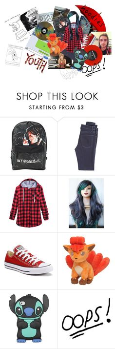 """""""oops stole a band members hoodie"""" by emorecyclable on Polyvore featuring McGuire Denim, Converse, Venom and Disney"""