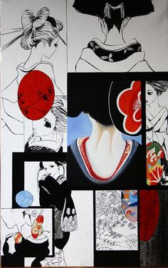 2 worlds in Japan, traditional geisha and geisha in manga  oil painting 73x116 cm  2500€