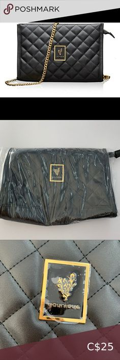 "Younique quilted purse / makeup bag Brand new in packaging! Gorgeous quilted black purse with gold hardware and purple lining inside. Can be used as a purse or makeup bag. Includes gold chain purse strap. Approx. 10 x 7 x 3"" 💰💥Bundle & Save! MINIMUM 20% off bundles! Buy more, save more - make the shipping costs worthwhile 😉 Younique Bags Starbucks Ceramic Mug, Leather Makeup Bag, Quilted Purse, Yoga Bag, Purse Strap, Floral Kimono, Mini Purse, Black Purses, Younique"