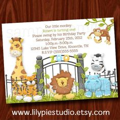 Jungle Birthday Invitation Printable Digital File by LilyPieStudio, $12.00