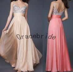 Champagne chiffon evening dresses with rhinestones straps prom dresses long bridesmaid dress for wedding unique sweetheart homecoming dress on Etsy, $148.00