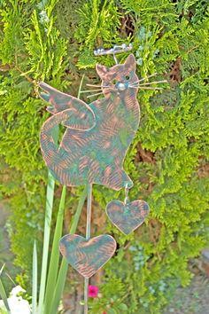 Cat Garden Angel Stake Grave Marker / Metal Garden Art / Copper Art / Pet Memorial / Outdoor Decor / Cat Memorial Gift / Kitty Plant Stake