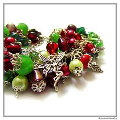 Christmas Cluster Bracelet, Red and Green Shaggy Bracelet, Pearl and crystal bracelet, Charm bracelet, Christmas fairy charm bracelet on Etsy