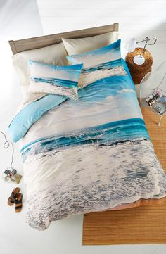 Waking up to a seaside vacation with this tranquil, 'take me there' bed-set.