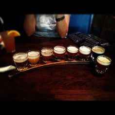 The beer sampler at Moon River Brewing Co. in Savannah Beer Sampler, Chocolate Trifle, Moon River, Brewing Company, Future Travel, Travel Aesthetic, Home Brewing, Holiday Destinations, Savannah Chat