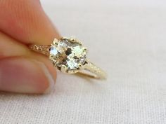 Vintage Art Deco Natural Yellow Sapphire and 14k Yellow Gold Engagement Ring. $3,000.00, via Etsy.