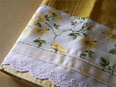 """""""Golden Roses"""" decorated Tea Towel, Dish Towel. $ 13, by Cath via Etsy."""