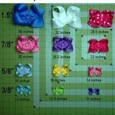 Hair bows ribbon lengths. So you don't cut to much for what size bow you want to make