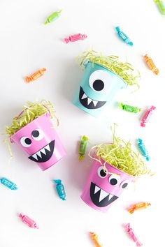 Make these fun diy monster candy buckets for a Halloween party or a fun treat for the kids.