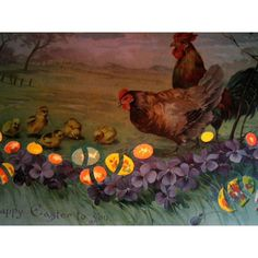 Easter Décor. Hold to Light Postcard. Colorful Spring Scene. Rooster... ($40) ❤ liked on Polyvore featuring home, home decor, holiday decorations, antique home decor, colorful home decor, rooster home decor, spring home decor and post card