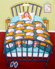 Cat Quilt - Funny White and Orange Cats in Bed with Woman Glicee Print from Original Painting Korpita ebsq. via Etsy.