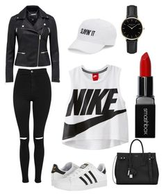 ☆ Black & White ☆ by realunicorn99 on Polyvore featuring polyvore fashion style NIKE Topshop adidas Yves Saint Laurent ROSEFIELD SO Smashbox clothing