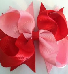 Valentine Hair Bow. Boutique Hair Bow. Red and Pink by MyFeltBow, $2.99