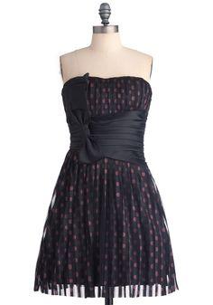 Rock Ballet Dress - Short, Prom, Black, Red, Polka Dots, Bows, Pleats, A-line, Mini, Strapless